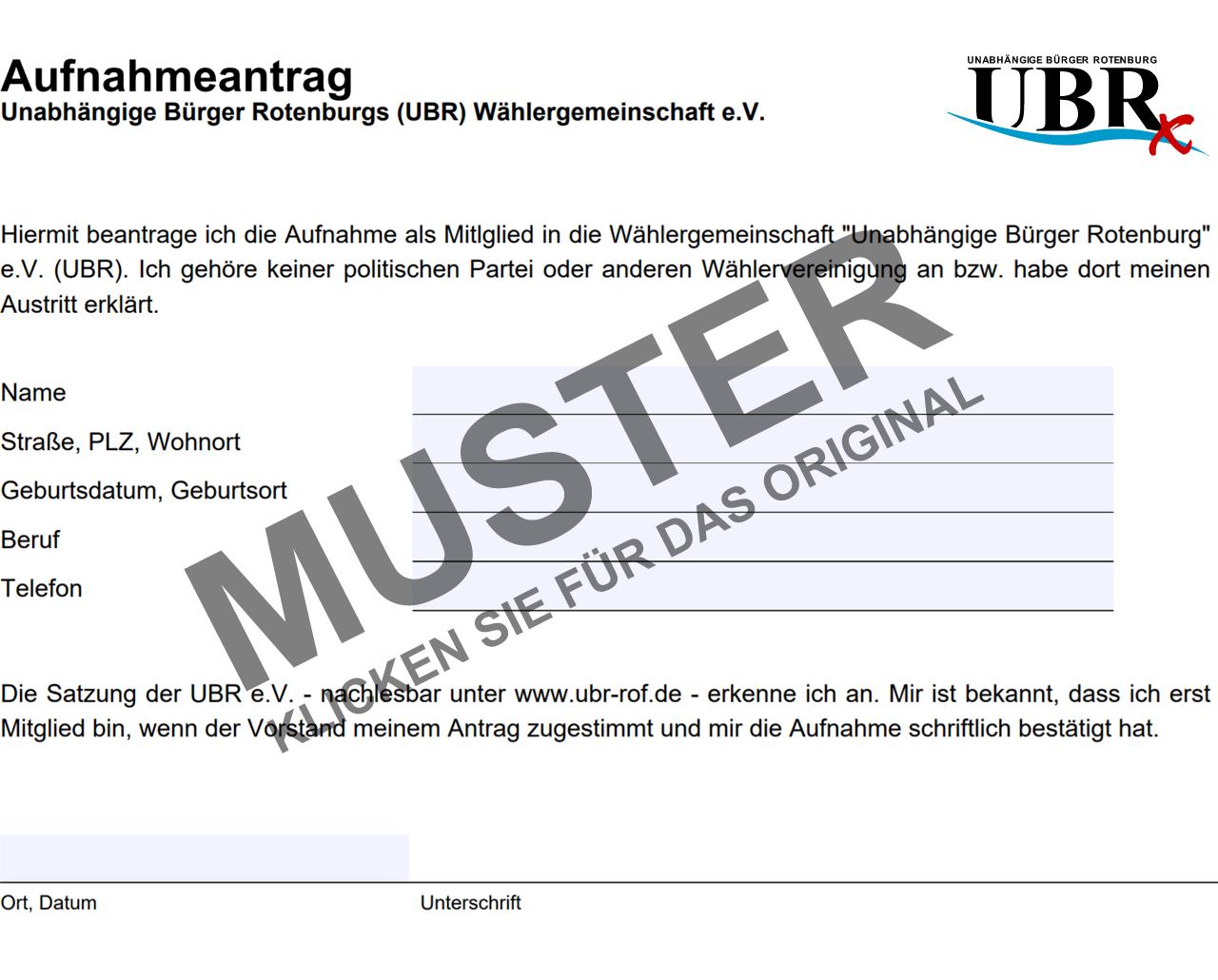 UBR Mitgliedschaftsantrag